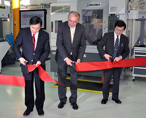 Ceremonial opening of the new Kyocera technology centre (from left to right): Mitsuru Imanaka, European President Kyocera Fineceramics; Herr Herbert Napp, Mayor of Neuss; Ken Ishii, General Manager Corporate Cutting Tool Group